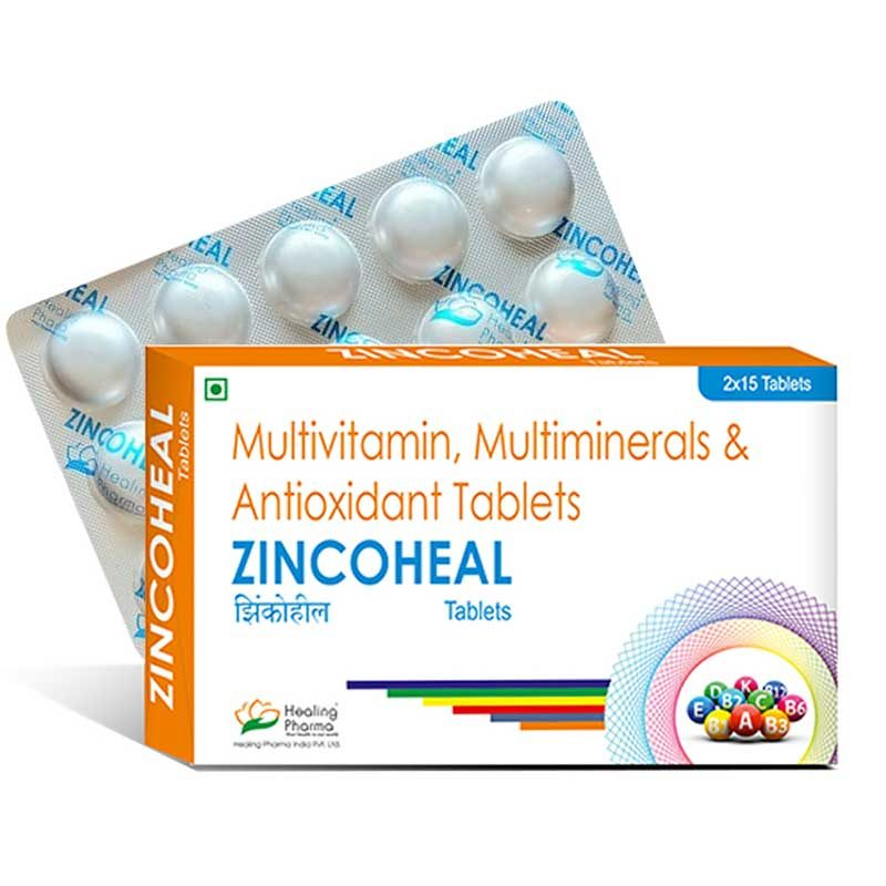 zinc multivitamin, multimineral and antioxidant tablets. Zincoheal